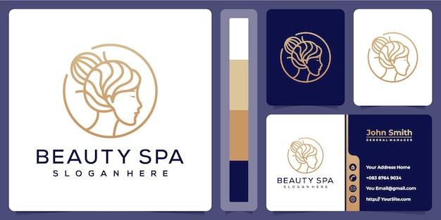 Plantilla de logotipo de spa de belleza con tarjeta de visita Vector Premium
