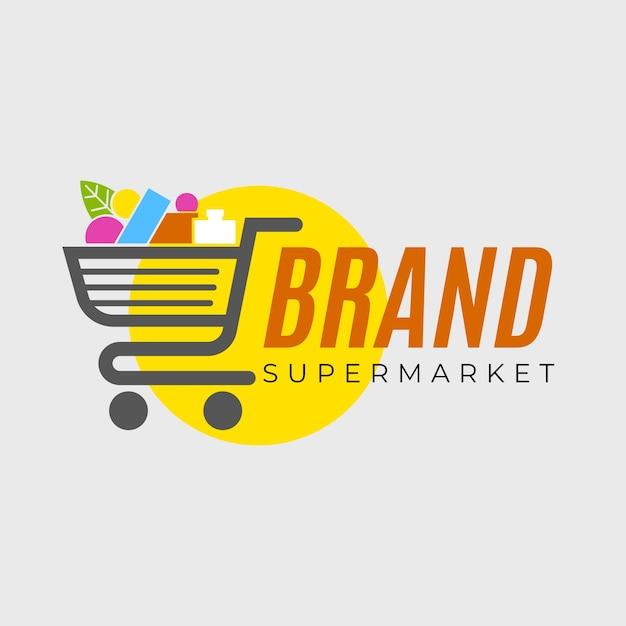 Plantilla de logotipo de supermercado con carrito de compras Vector Premium