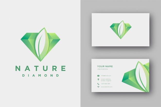 Plantilla de logotipo y tarjeta de visita de diamante natural Vector Premium