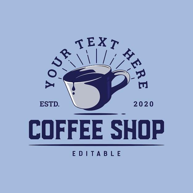 Plantilla de logotipo de taza de café para cafetería o póster Vector Premium