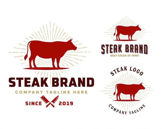 Plantilla de logotipo de tienda de carne Vector Premium