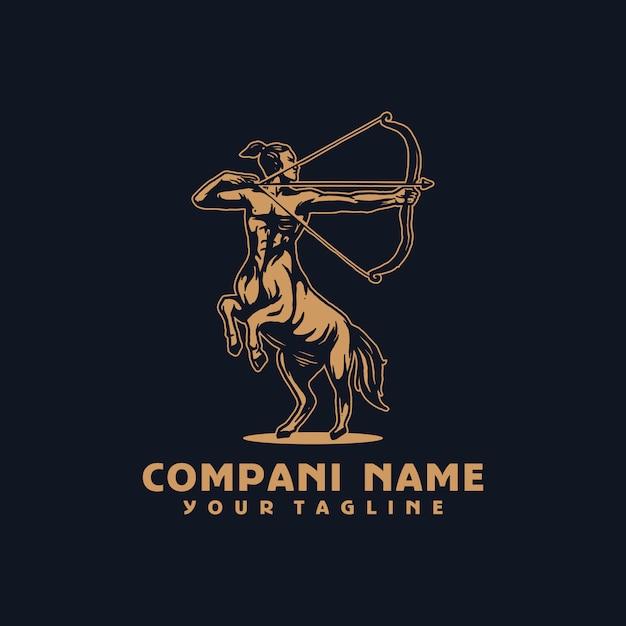 Plantilla de logotipo de vector de caballo guerrero Vector Premium