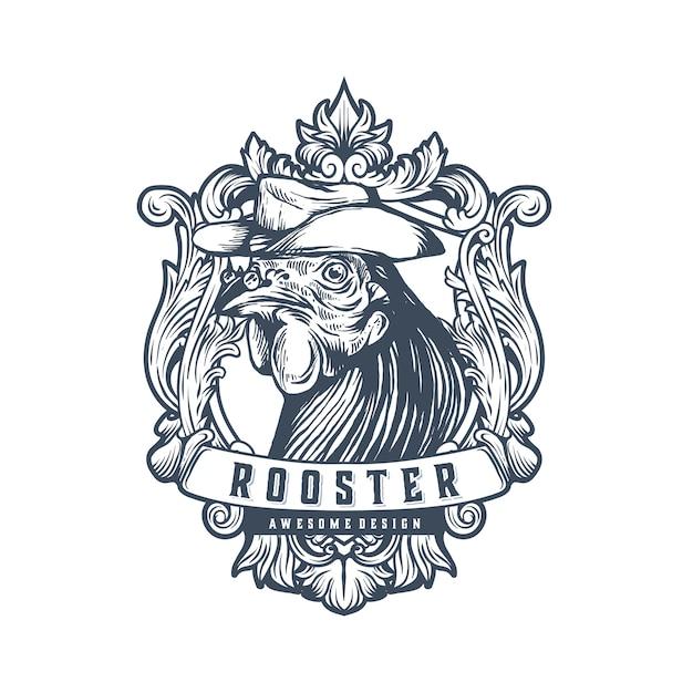 Plantilla de logotipo vintage gallo Vector Premium