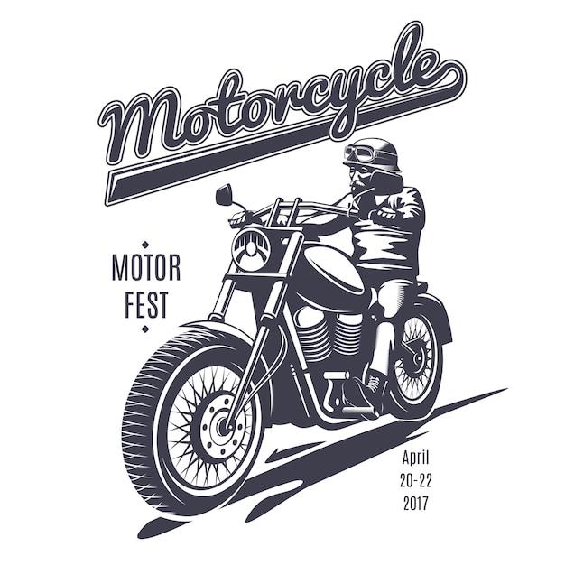 Plantilla de logotipo vintage moto fest vector gratuito