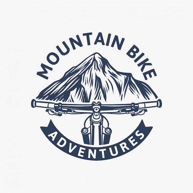 Plantilla de logotipo vintage de mountain bike adventures con manillar y montaña Vector Premium