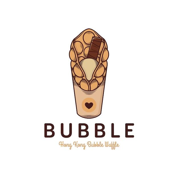 Plantilla de logotipo de waffle de burbuja de hong kong Vector Premium