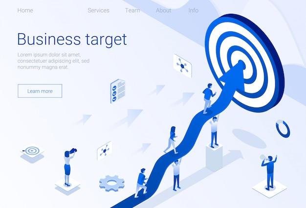 Plantilla de logro de objetivos de business target homepage Vector Premium
