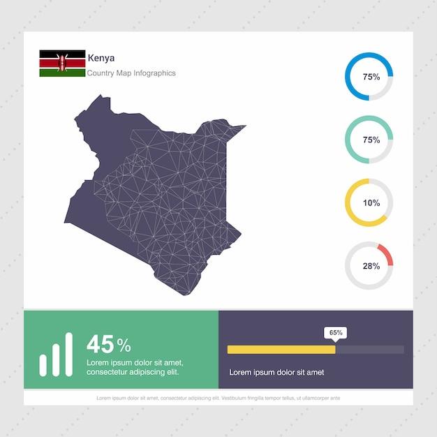 Plantilla de mapa de kenia y bandera infografía vector gratuito