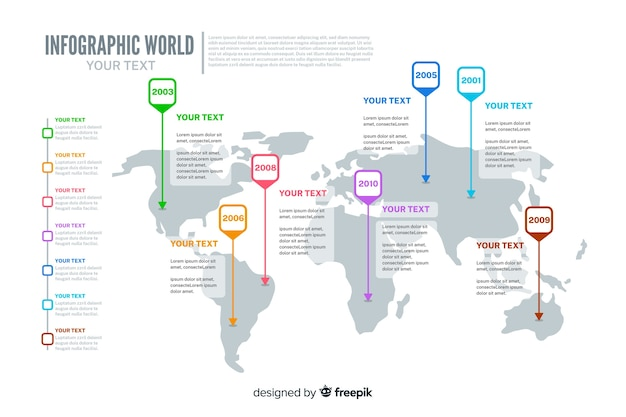 Plantilla de mapa mundial infografía vector gratuito