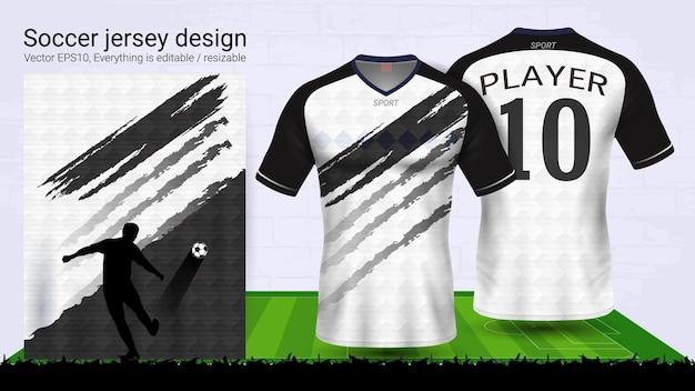 Plantilla de maqueta deportiva camiseta blanco y negro