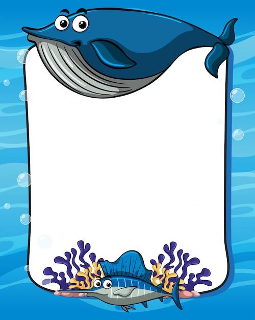 Plantilla de marco con ballena azul | Descargar Vectores Premium