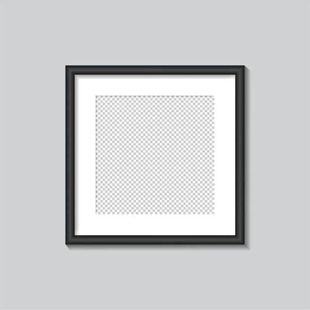 Plantilla de marco cuadrado negro. ilustración. Vector Premium