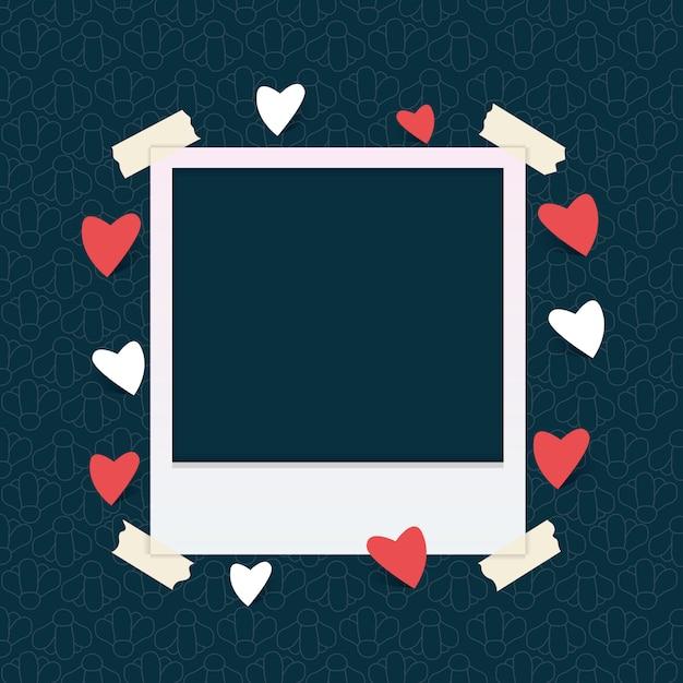 Plantilla de marco de fotos con corazón Vector Premium