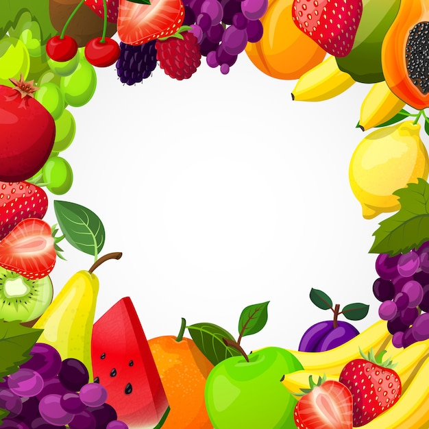 Plantilla de marco de frutas vector gratuito