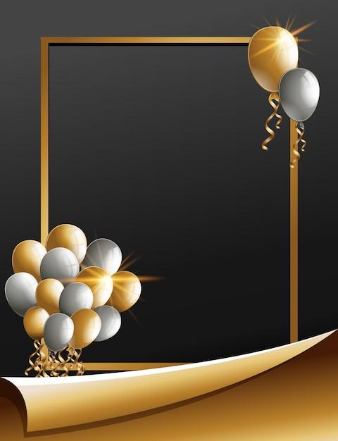 Plantilla de marco con globos dorados y plateados | Descargar ...