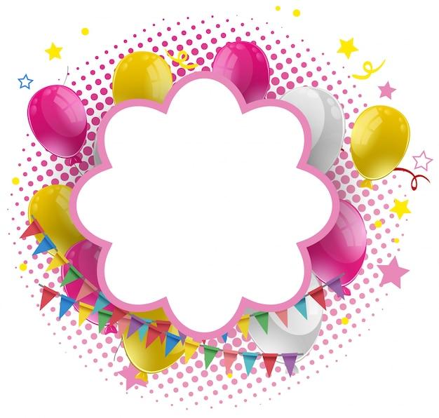 Plantilla de marco con globos rosados y amarillos | Descargar ...