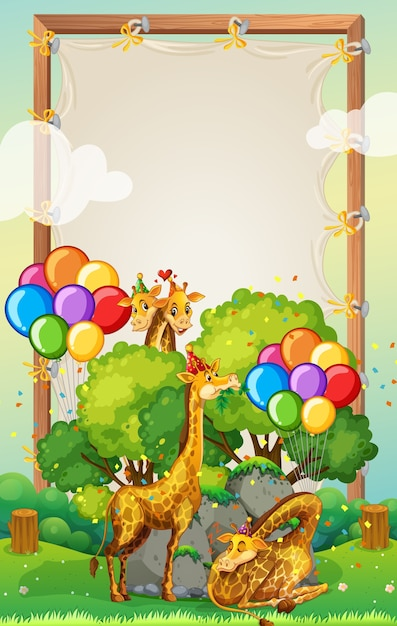 Plantilla de marco de madera de lona con jirafas en tema de fiesta sobre fondo de bosque vector gratuito