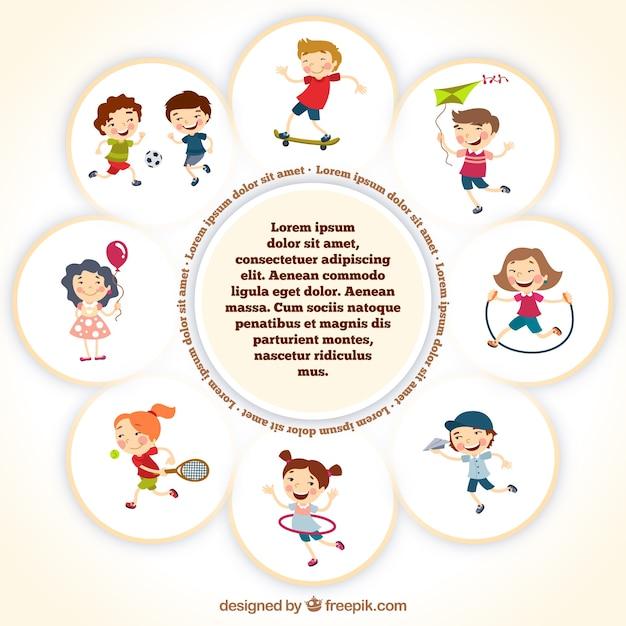 Plantilla marco con niños jugando | Descargar Vectores gratis