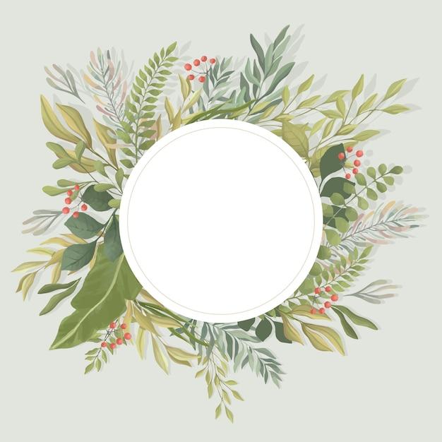 Plantilla de marco redondo de hojas verdes. follaje, ramas ilustración plana. invitación, plantilla de tarjeta de boda. Vector Premium