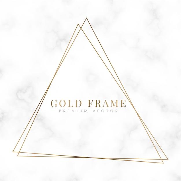 Plantilla de marco de triángulo dorado vector gratuito