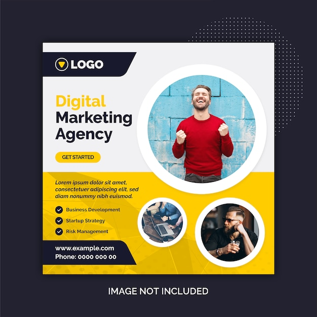 Plantilla de medios sociales de la agencia de marketing digital para instagram Vector Premium