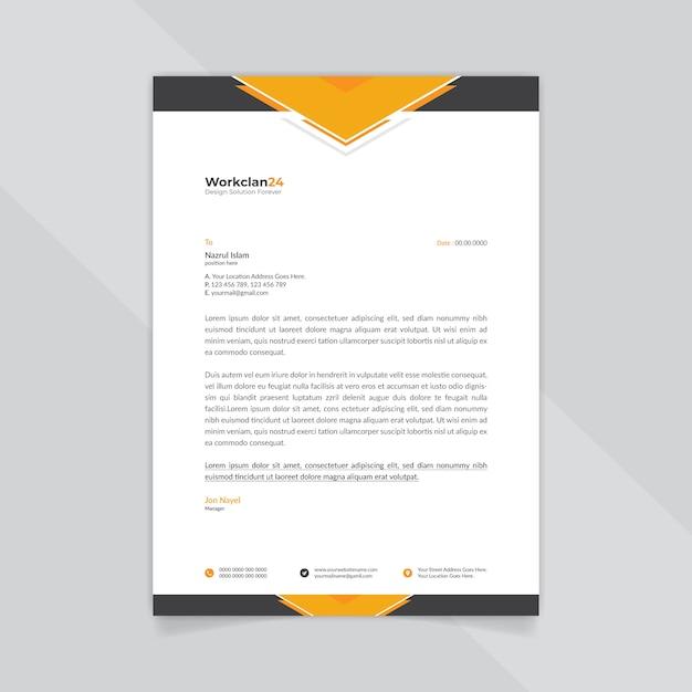 Plantilla de membrete abstracto de negocios negro y naranja. Vector Premium