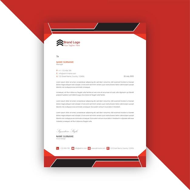 Plantilla de membrete abstracto rojo y negro Vector Premium