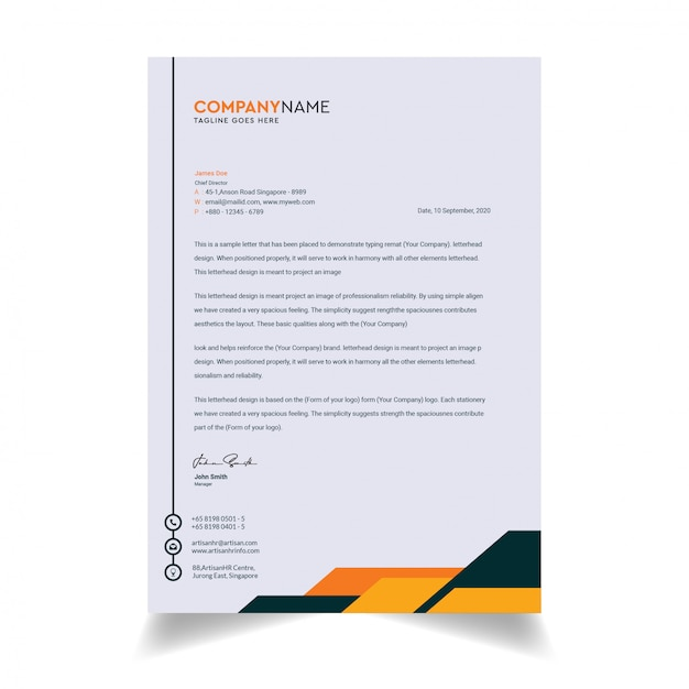 Plantilla de membrete moderno y limpio Vector Premium