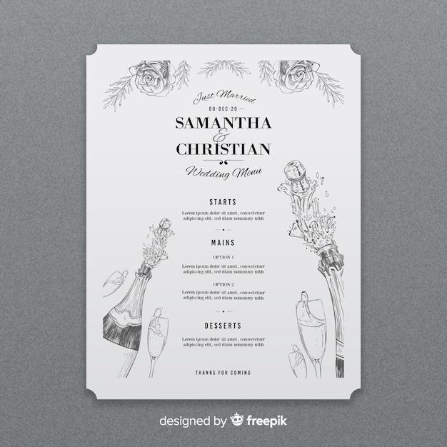Plantilla de menú de boda dibujada a mano vector gratuito