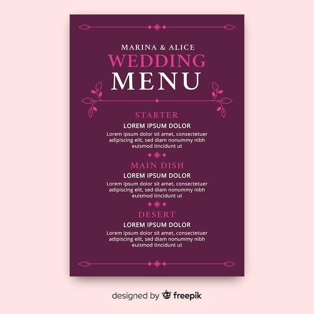 Plantilla de menú de boda dibujado a mano vector gratuito