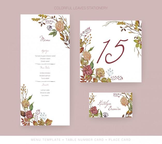 Plantilla de menú de boda de otoño, tarjeta de número de mesa, tarjeta de lugar Vector Premium