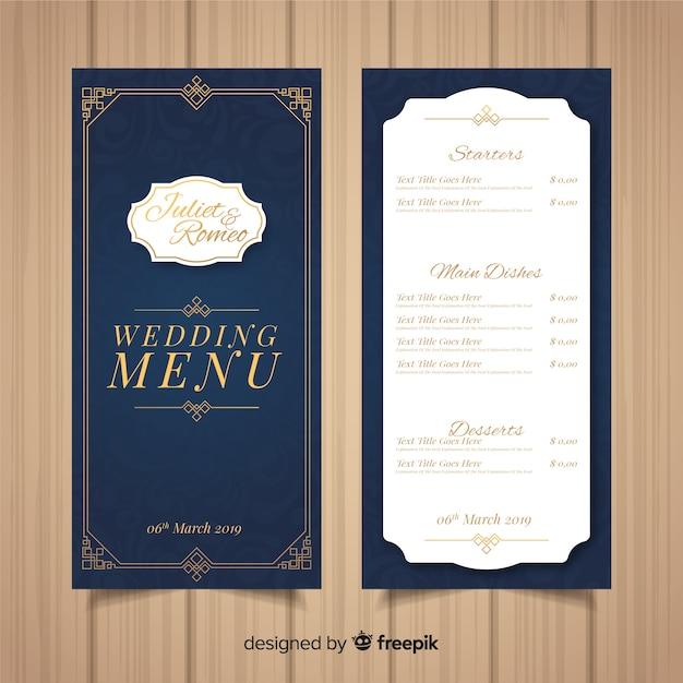 Plantilla de menú de boda vector gratuito