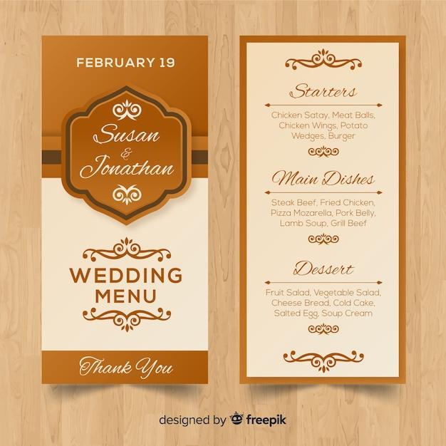 Plantilla de menú para boda vector gratuito