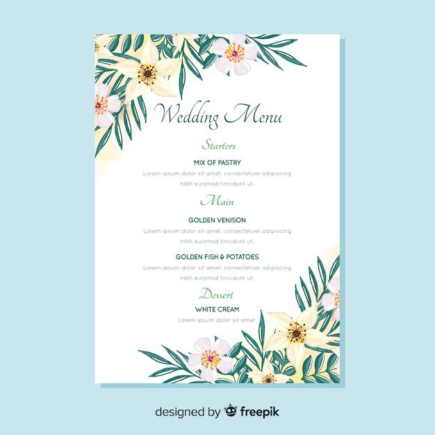 Plantilla de menú de bodas floral en acuarela vector gratuito