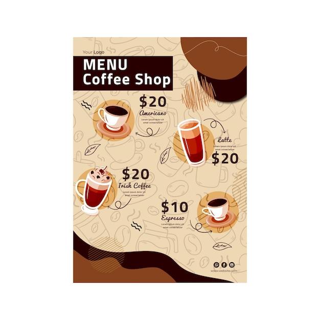 Plantilla de menú de cafetería vector gratuito