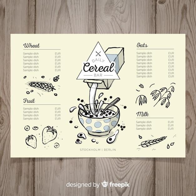 Plantilla de menú de cereales dibujado a mano vector gratuito