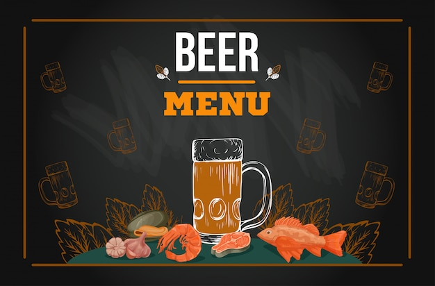 Plantilla de menú de cerveza en estilo boceto dibujado a mano en pizarra Vector Premium