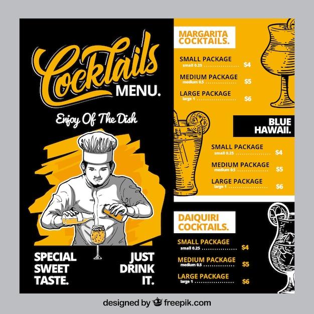 Plantilla de menú de cócteles dibujada a mano vector gratuito
