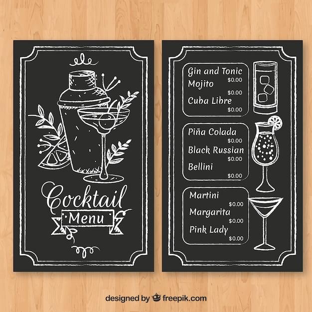 Plantilla de menú de cócteles dibujado a mano con estilo elegante vector gratuito