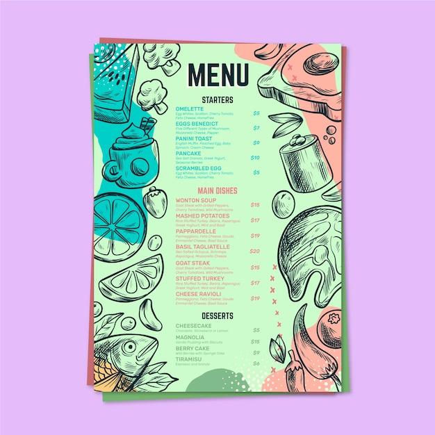 Plantilla de menú colorido restaurante vector gratuito