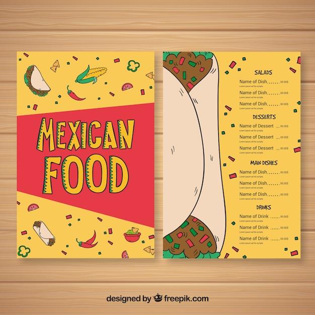 Plantillas para menu mexicano gratis