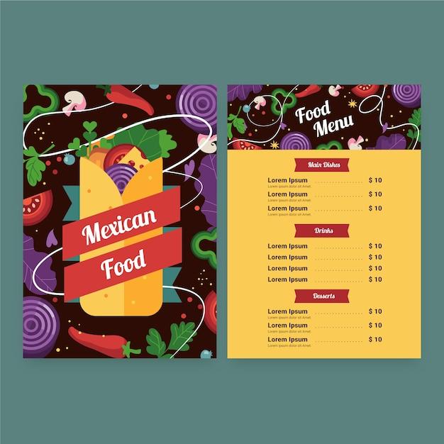 Plantilla de menú de comida mexicana vector gratuito