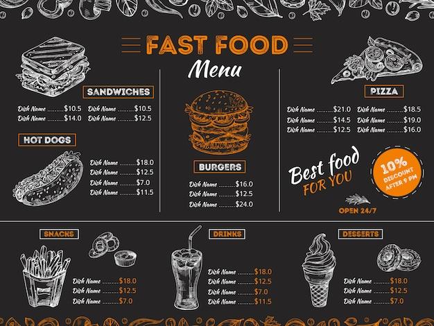 Plantilla de menú de comida rápida con comida boceto Vector Premium