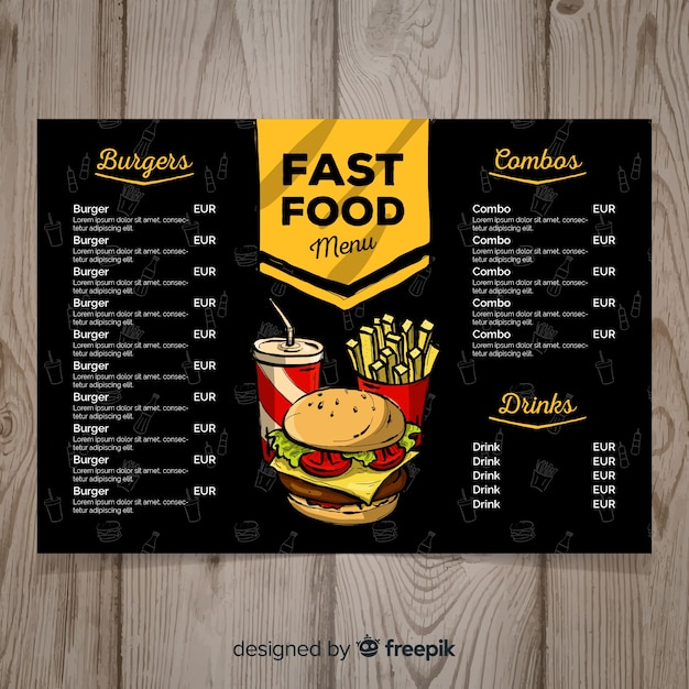 Plantilla de menú de comida rápida dibujado a mano Vector Premium