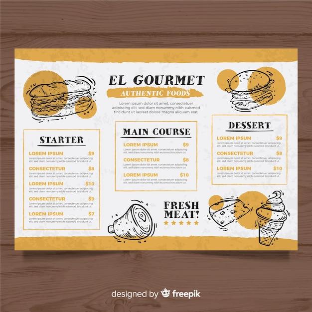 Plantilla de menú de comida rápida dibujado a mano vector gratuito