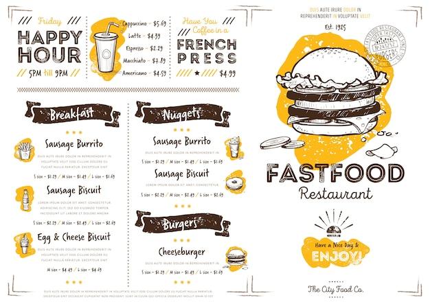 Plantilla de menú de comida rápida de restaurante café Vector Premium