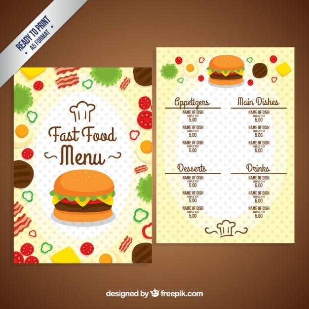 plantilla de menú de comida rápida descargar vectores gratis