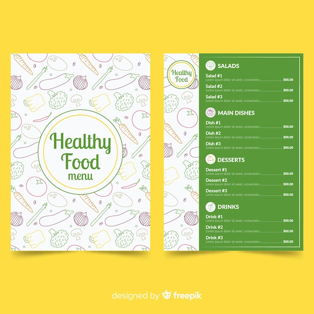 Plantilla de menú de comida sana vector gratuito