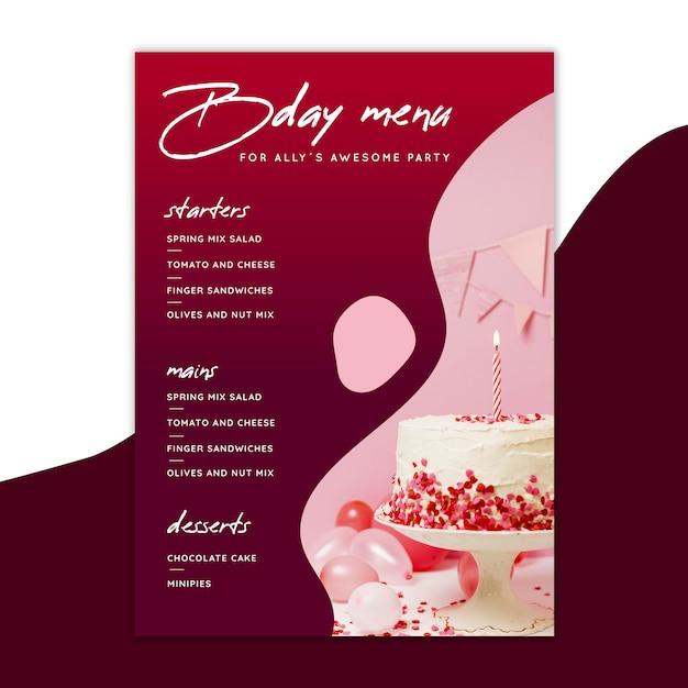 Plantilla de menú de cumpleaños con pastel vector gratuito