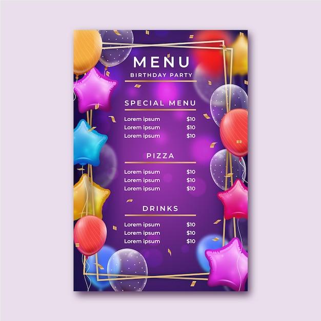 Plantilla de menú de cumpleaños vector gratuito